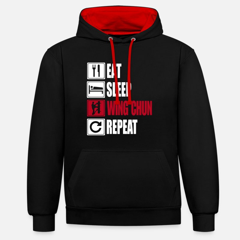 Wing Hoodies & Sweatshirts - Eat-Sleep-WingChun-Repeat - Unisex Contrast Hoodie black/red