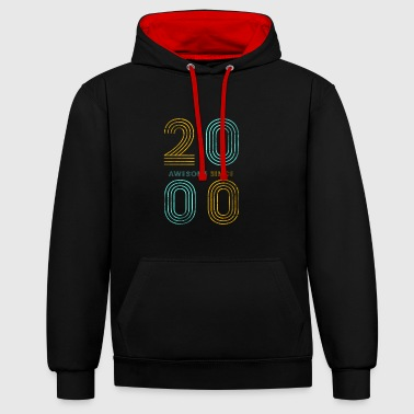 18th Birthday 18th birthday t shirt vintage 2000 gift - Contrast Colour Hoodie