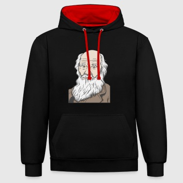 Charles Darwin Portrait Gift Evolution - Contrast Colour Hoodie