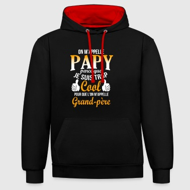 t shirt papy humour papi cool grand-père cadeau - Sweat-shirt contraste