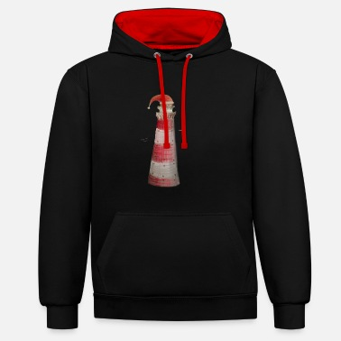 Christmas lighthouse gift sea - Contrast Colour Hoodie