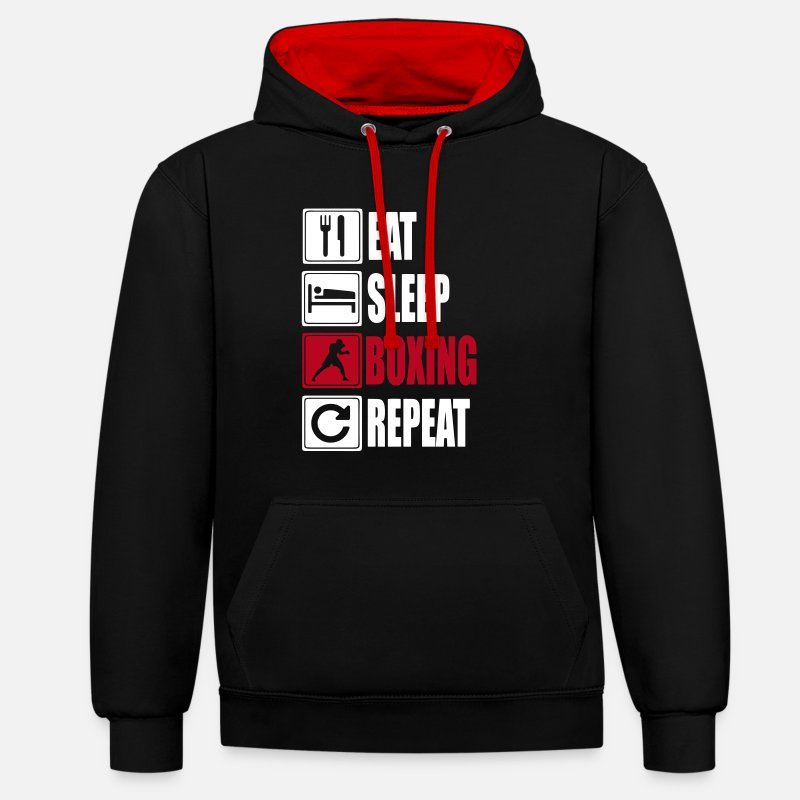 Boxing Sweaters - Eat-Sleep-Boxing-Repeat - Unisex contrast hoodie zwart/rood