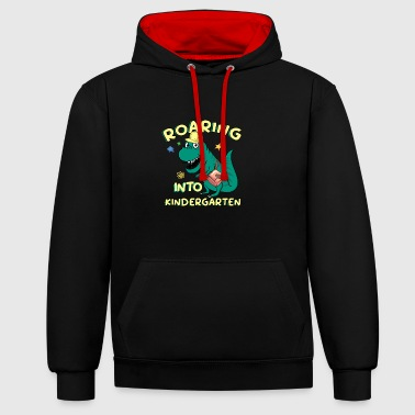 Roar Roaring Into Kindergarten - Contrast Colour Hoodie