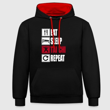 Eat-Sleep-Tai Chi-Repeat - Contrast Colour Hoodie