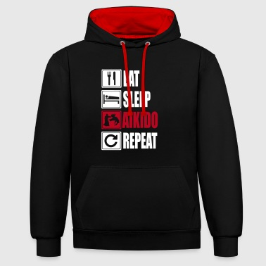 Eat-Sleep-Aikido-Repeat - Sudadera con capucha en contraste