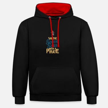 Piracy Pirate, piracy, pirate flag - Contrast Colour Hoodie
