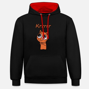 Beg Cat begs for attention - Krrrr - Contrast Colour Hoodie