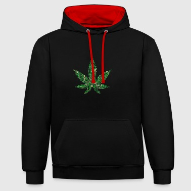 feuille de marijuana - Sweat-shirt contraste