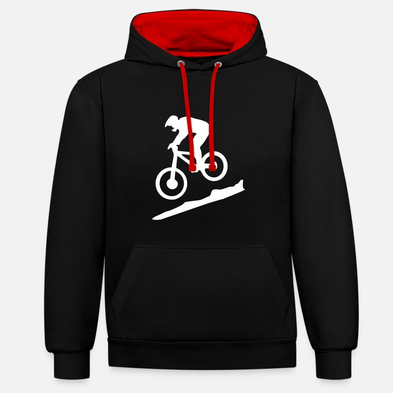 Bike Felpe - downhill biking - mountain biking - Hoodie bicolor unisex nero/rosso