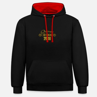 2008 Queens are born in 2008 - Birthday Koenigin Gold - Unisex Contrast Hoodie