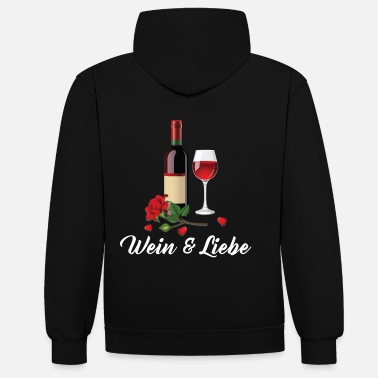 Red Wine Wine & Love - red wine - Contrast Colour Hoodie