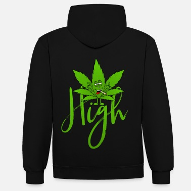 Feuille De Cannabis feuille de cannabis Haschkottchen Fly High - Sweat-shirt contraste