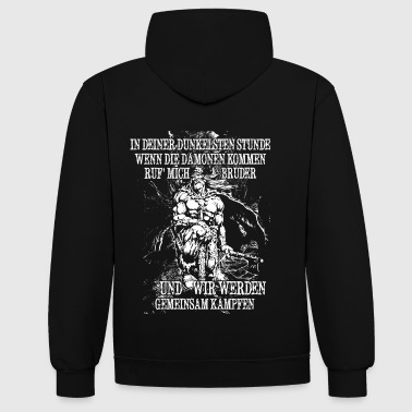 In your darkest hour call me! (bright) - Contrast Colour Hoodie