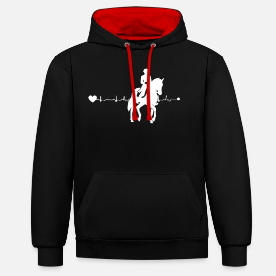 Dressage Hoodies & Sweatshirts - Heartline dressage - Unisex Contrast Hoodie black/red