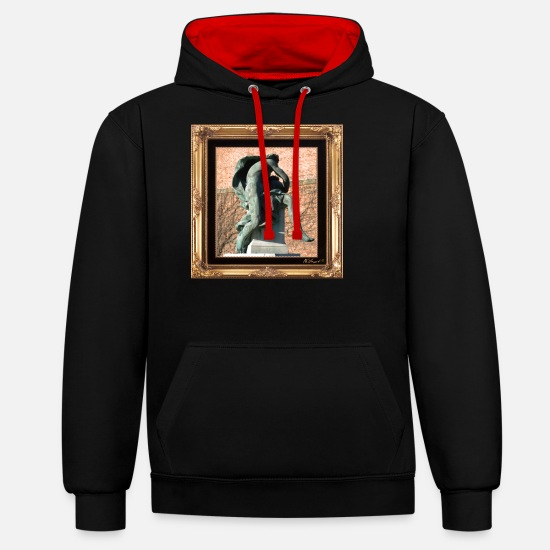 Park Hoodies & Sweatshirts - Antique statue in a chic setting - Unisex Contrast Hoodie black/red