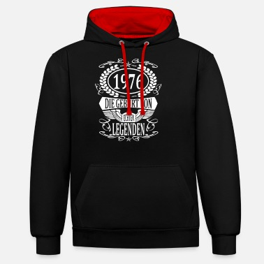 Production Year year 1976 birth year vintage year gift - Unisex Contrast Hoodie