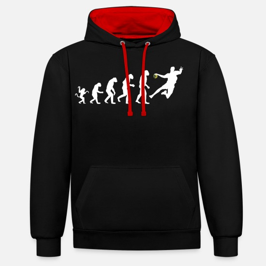 Handball Sweat-shirts - Handball Evolution - Handballer - Amour de handball - Sweat à capuche contrasté unisexe noir/rouge