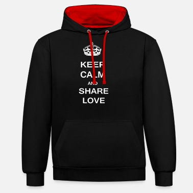 Calm Keep Calm Share Love - Unisex Contrast Hoodie