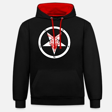 Satanic White and Red goats head Baphomet - Unisex Contrast Hoodie