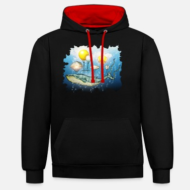Aquarium Whale, flying whale - Unisex Contrast Hoodie