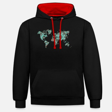 World World map with mandala gift map - Contrast Colour Hoodie