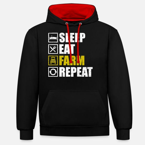 Tractor Hoodies & Sweatshirts - farmer - Unisex Contrast Hoodie black/red
