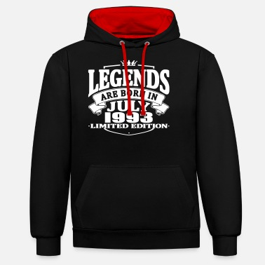 July Legends are born in july 1993 - Contrast Colour Hoodie