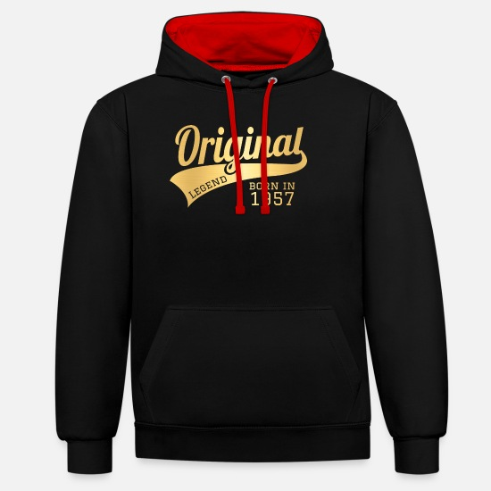 Birthday Hoodies & Sweatshirts - 1957 57 Present Bday Birthday Present Gift - Unisex Contrast Hoodie black/red