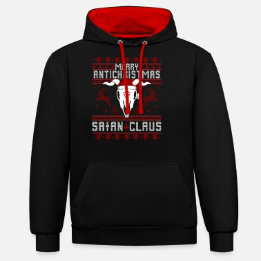 Antichrist Merry Antichristmas - Satan Claus Ugly Sweater - Unisex Contrast Hoodie
