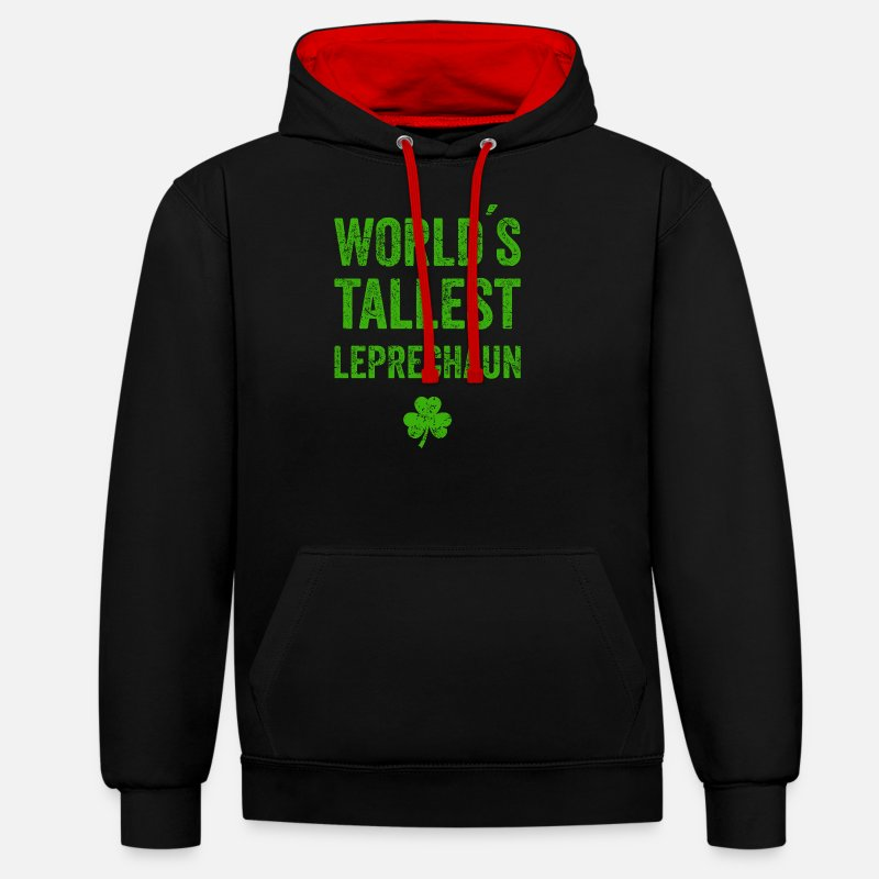 Day Hoodies & Sweatshirts - Leprechaun St. Patrick's Day T-shirt Leprechaun - Unisex Contrast Hoodie black/red