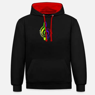 Colorful clef music notes musician - Unisex Contrast Hoodie