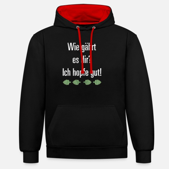 Munich Hoodies & Sweatshirts - How are you? I'm hoping good Illustration Grun - Unisex Contrast Hoodie black/red