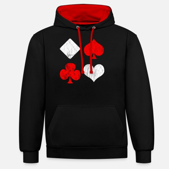 Square Hoodies & Sweatshirts - Check Heart Pik Cross - Unisex Contrast Hoodie black/red