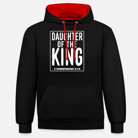 King Pullover & Hoodies - Daughter of the King - 2. Corinthians 6:18 - Unisex Hoodie zweifarbig Schwarz/Rot