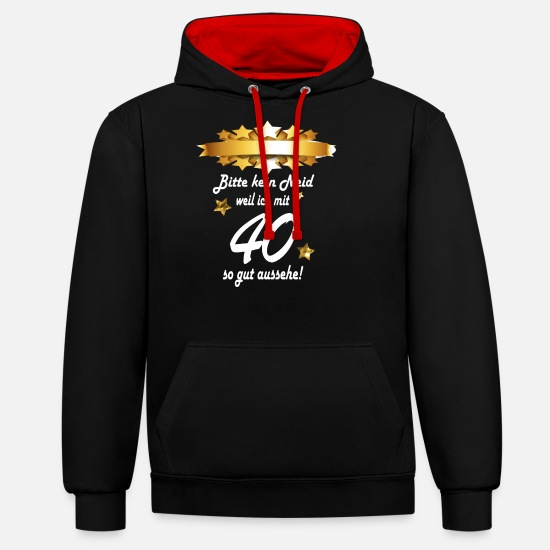 40th Birthday Hoodies & Sweatshirts - 40th birthday - Unisex Contrast Hoodie black/red