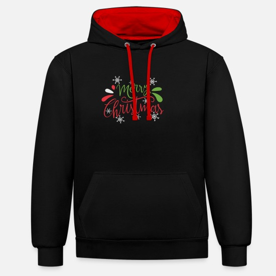 Gift Idea Hoodies & Sweatshirts - Merry Christmas Merry Christmas - Unisex Contrast Hoodie black/red