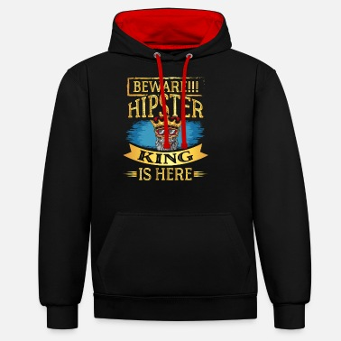 Hipster hipsters barber beard - Unisex Contrast Hoodie