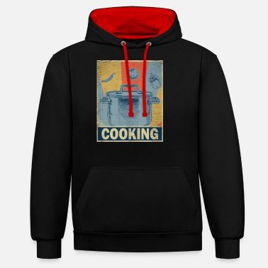 Labour Cooking retro vintage chef profession vegetable gift - Unisex Contrast Hoodie