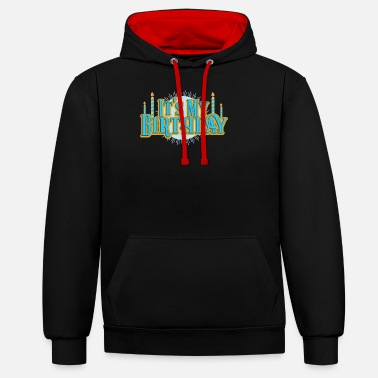 Birthday & Birthday My Birthday Retro Candles Party Gift - Unisex Contrast Hoodie