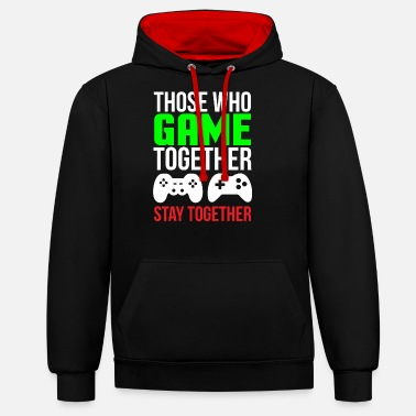 Couple Game Together Cute Gaming Couple T-shirt - Unisex Contrast Hoodie
