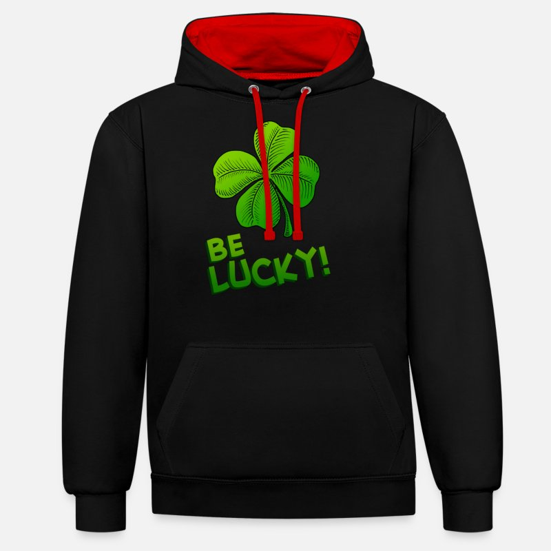Day Hoodies & Sweatshirts - Be Lucky Four Leafed Clover - Unisex Contrast Hoodie black/red