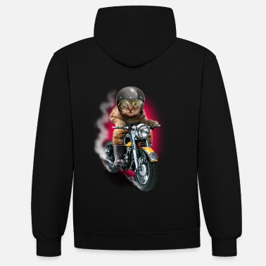 Bikes And Cars Collection CAT RIDER - Felpa con cappuccio bicolore unisex