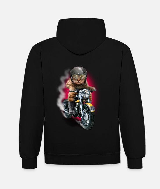Bikes And Cars Collection Pullover & Hoodies - CAT RIDER - Unisex Hoodie zweifarbig Schwarz/Rot