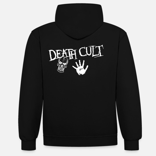 Gift Idea Hoodies & Sweatshirts - Death Cult, Skull Design - Unisex Contrast Hoodie black/red