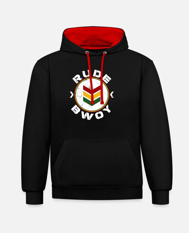 Rastafari Hoodies & Sweatshirts - Rude Bwoy - Unisex Contrast Hoodie black/red