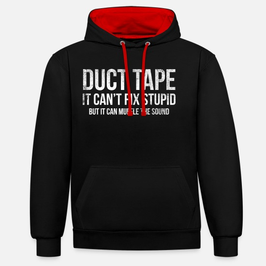 Funny Hoodies & Sweatshirts - Duct Tape Funny Stupid Humor T-shirt - Unisex Contrast Hoodie black/red
