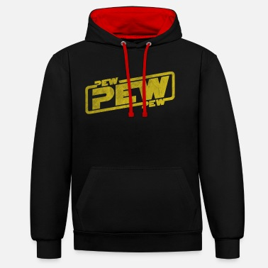 Fantasi Pew Pew Pew - Film Quote Rebel Fantasy Galaxy - Kontrast hoodie unisex