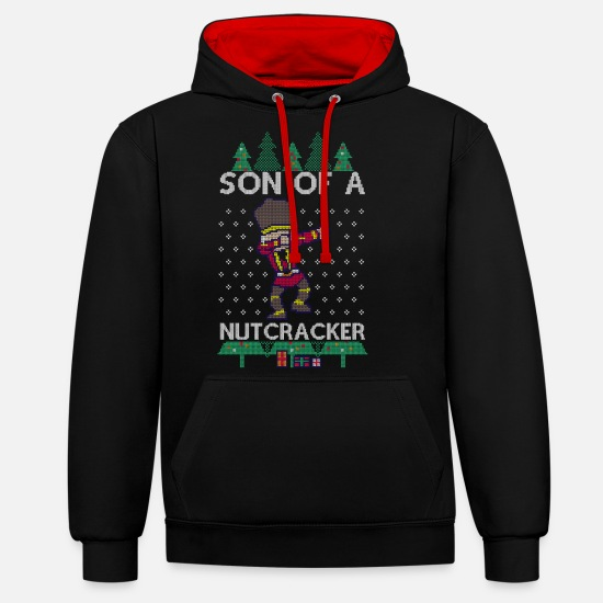 Christmas Hoodies & Sweatshirts - Dabbing Son of a Nutcracker Ugly Christmas Sweater - Unisex Contrast Hoodie black/red