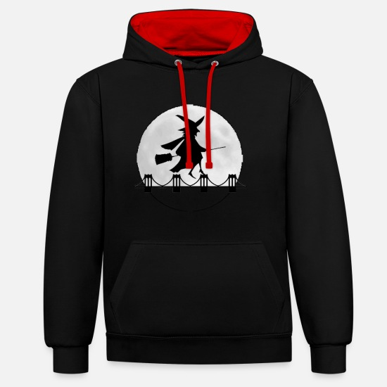 Witches Broom Hoodies & Sweatshirts - Witch magic witchcraft halloween broom - Unisex Contrast Hoodie black/red