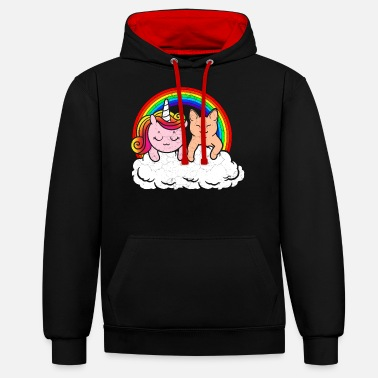 Cat Face Animal girlfriends unicorn cats friendship - Unisex Contrast Hoodie